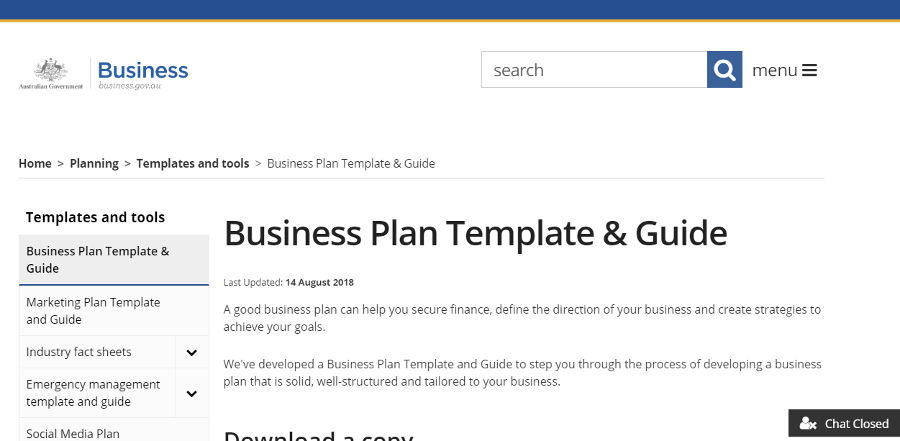 Australian Government business plan template
