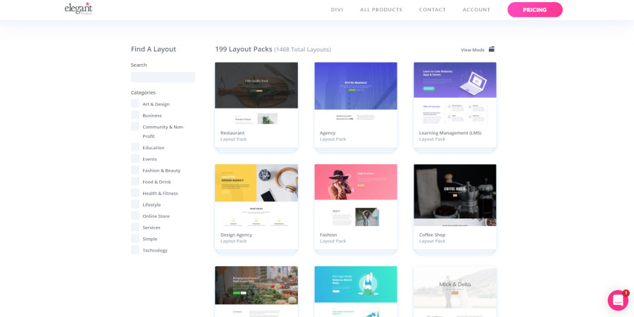 Choose a Divi layout