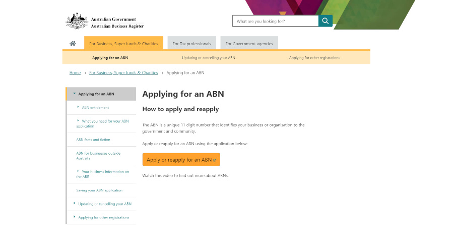 applying for an Abn Homepage