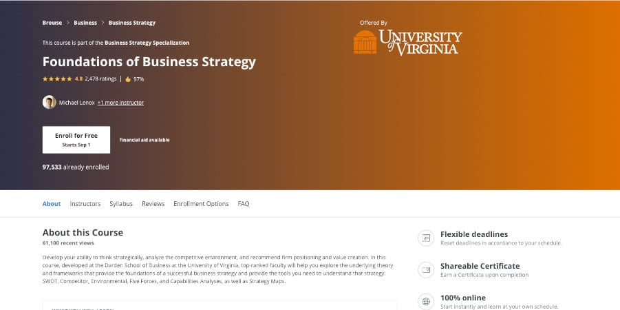 Foundations of Business Strategy Course  screenshot