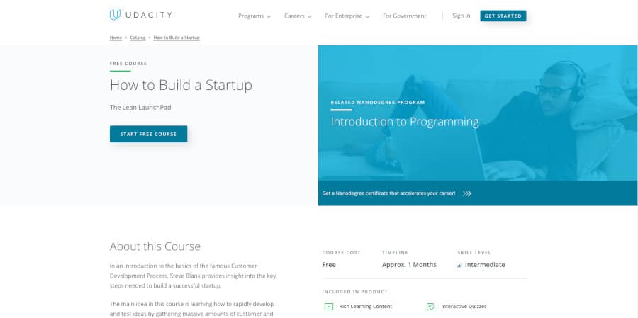 How To Build A Startup course screenshot